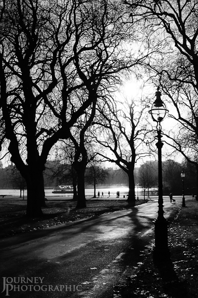 Black and white picture of Hyde Park, London