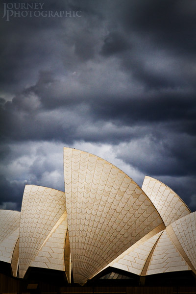 Picture of the Opera House against storm clouds, Sydney, Australia
