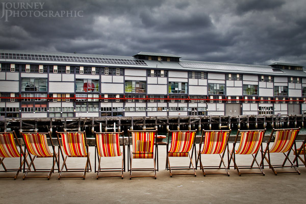 Colour picture of empty beach chairs, Finger Wharves, Sydney