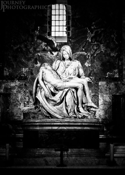 Black and white picture of the Pieta by Michelangelo, Rome