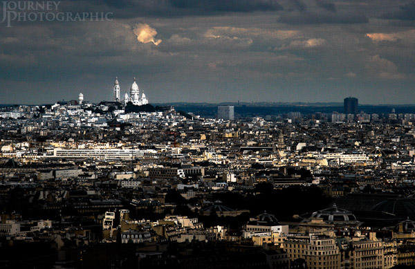 Picture of the view from the Eiffel Tower over Sacre Coeur, Paris