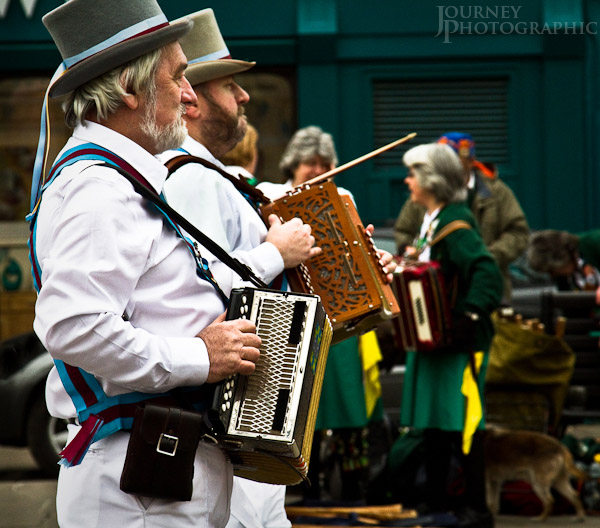 Pictures of musicians accompanying Morris Dancers, York