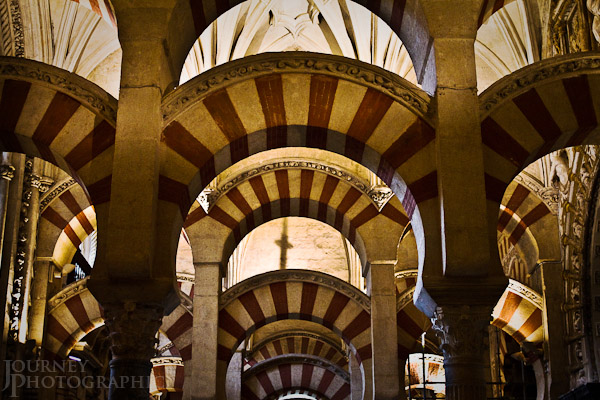 Picture of the arches of the Cathedral Mosque, Cordoba, Spain