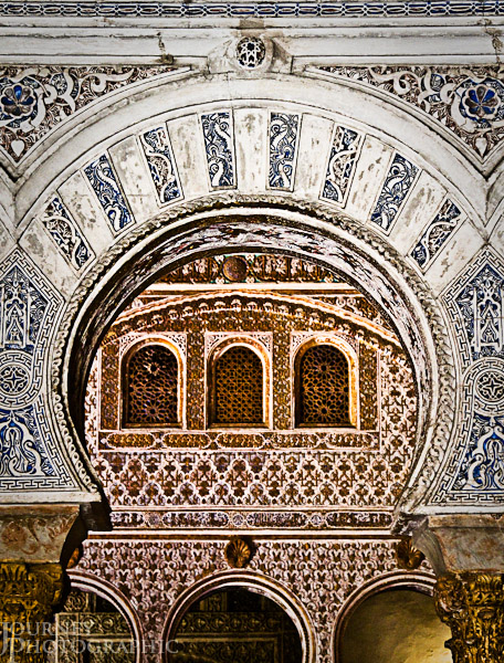 Picture of mudejar arches and decoration in the Royal Alcazar, Seville, Spain