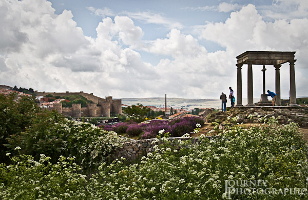 Picture of flowers and lookout in front of Avila walls, Spain