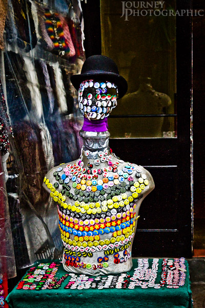 Picture of badge man, Camden Markets, London