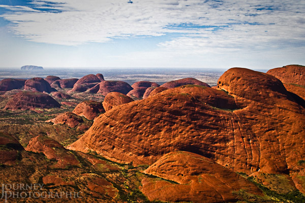 Picture of Kata Tjuta (the Olgas) and Uluru from the air, Central Australia