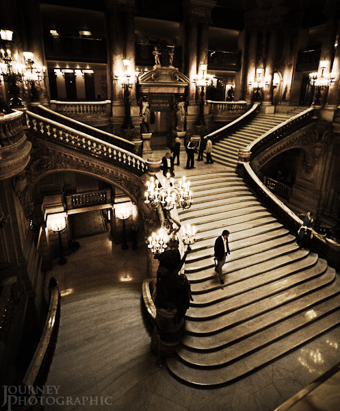 Black and white picture of the grand staircase, Palais Garnier