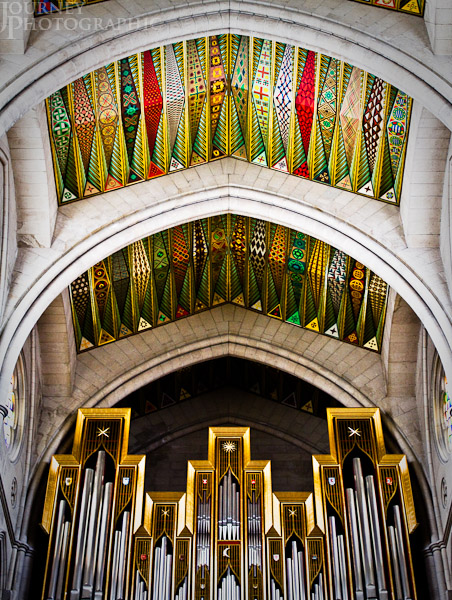Picture of the ceiling and organ of the Almudena Cathedral, Madrid, Spain