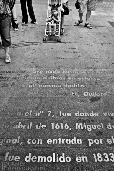 Black and white picture of the district of letters, Madrid, Spain