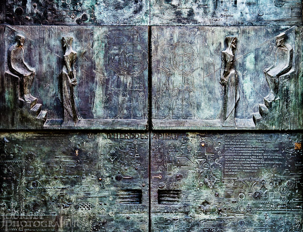 Picture of the doors of the Passion Facade of the Sagrada Familia, Barcelona, Spain
