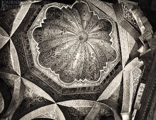 Black and white picture of the dome in the Mosque-Cathedral of Cordoba, Spain
