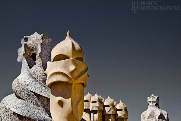 Picture of chimneys on the roof of Gaudi's  La Pedrera (Casa Mila), Barcelona, Spain