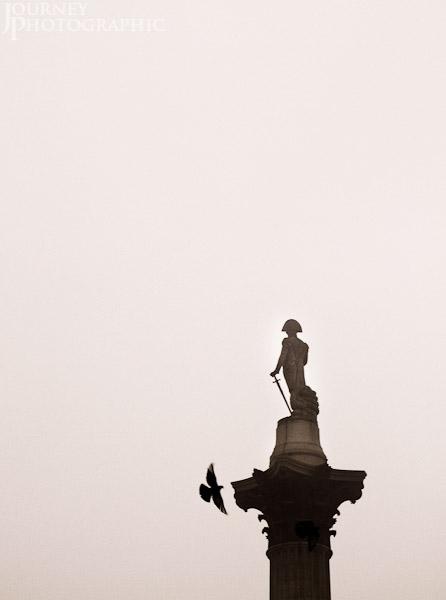 Monochrome picture of Nelson's Column, Trafalgar Square, London