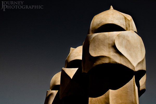 Picture of the Gaudi warriors on the roof of La Pedrera, Barcelona, Spain