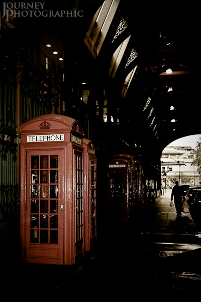 Picture of telephone boxes from Smithfield Market, London, England