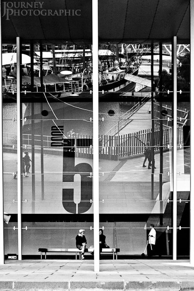 Picture of reflection of ship and people, Door 5, Melbourne Exhibition Centre, Australia