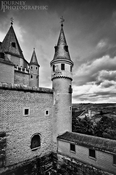 Black and white picture of Segovia Castle (Alcazar of Segovia) tower, Spain