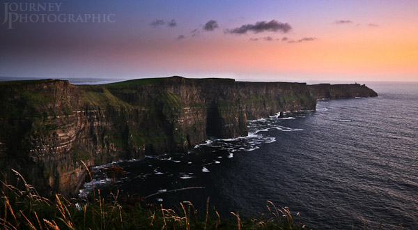 Landscape picture of the cliffs of moher at sunset, Ireland