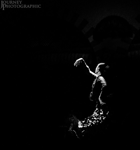 Black and white picture of a flamenco dancer, Seville, Spain