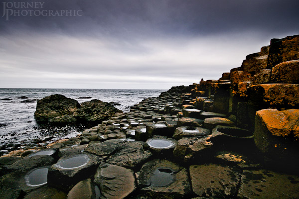 Landscape picture of stormy sky over the Giant's Causeway, Northern Ireland