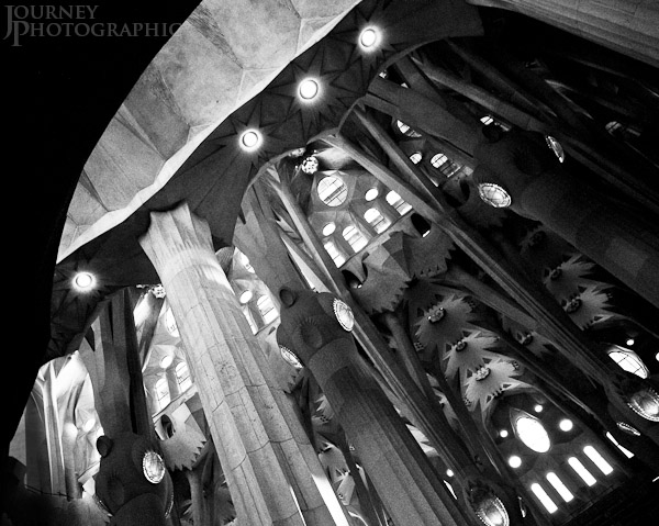 Black and white picture of the interior of the Sagrada Familia