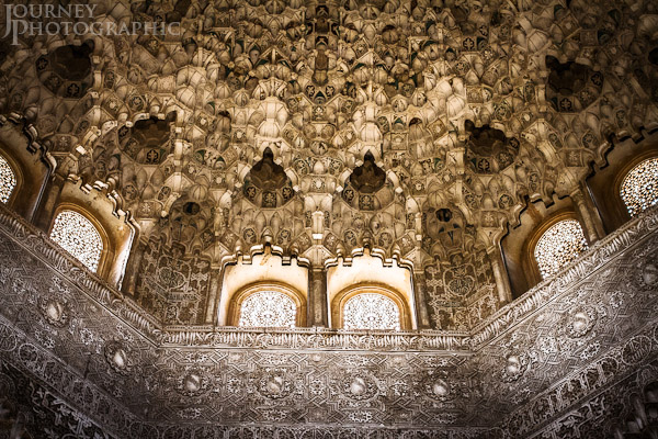 Picture of the ceiling of the Nasrid Palaces, Alhambra, Granada