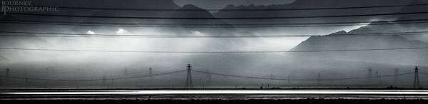 Picture of power lines in the mist, Mojave Desert, USA