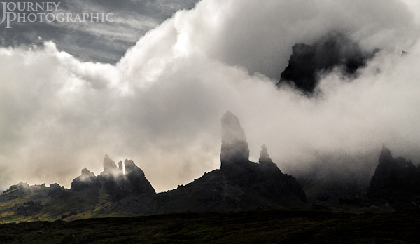 Landscape picture of the Old Man of Storr covered in clouds, the Isle of Skye, Scotland