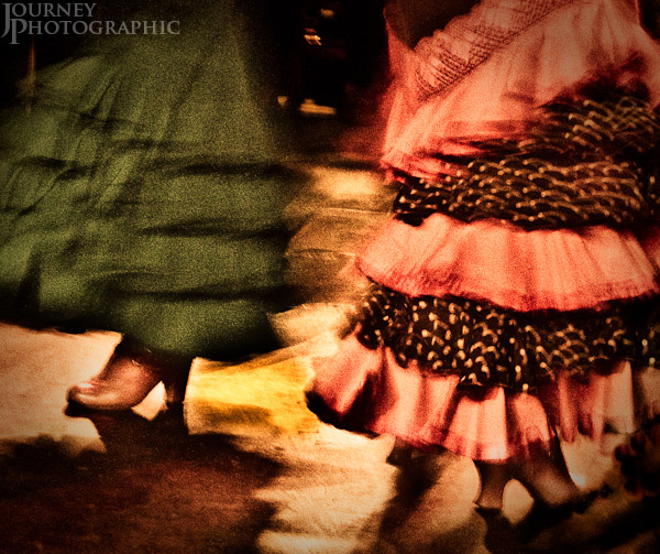 Picture of the shoes and skirts of Flamenco dancers , Granada, Spain