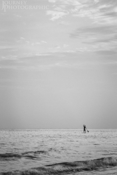 Black and white picture of a Paddleboarder, Florida, USA