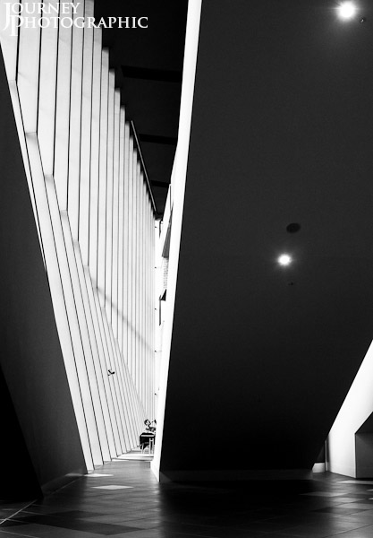 Black and white picture of the concourse of the Melbourne Convention and Exhibition Centre