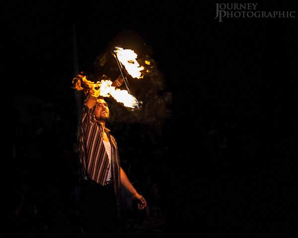 Picture of fire twirler at the National Folk Festival, Canberra, Australia 2012
