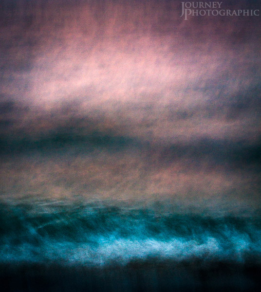 Abstract impressionist picture of a pink and blue seascape, Florida, USA