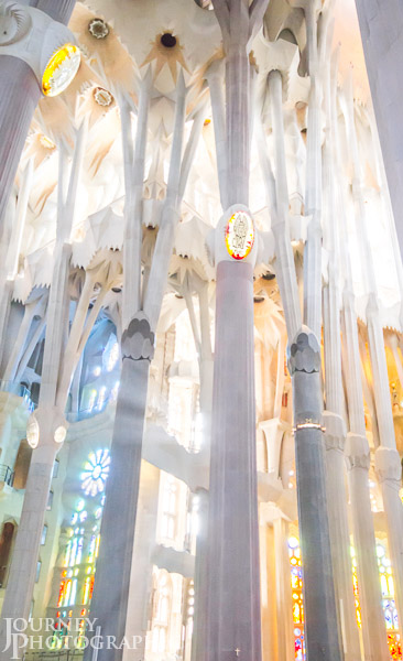 Picture of pastel coloured light through stained glass, Sagrada Familia, Barcelona