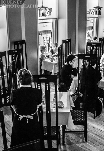 Black and White picture of the interior of the Willow Tearooms, Glasgow, Scotland