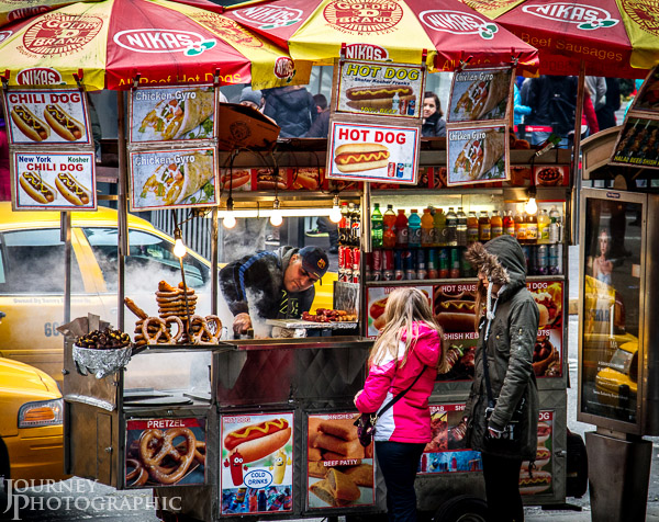 Picture of street food seller in Times Square, New York