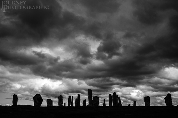 Black and white picture of Callanish stones with moody sky, Isle Of Lewis, Scotland