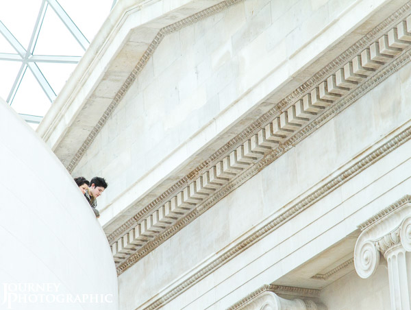 Picture of people looking down into the Great Court, British Museum, London