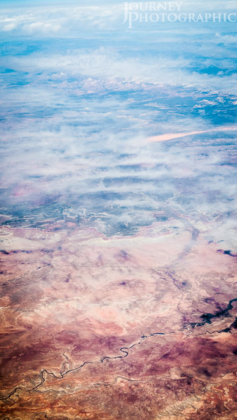Aerial landscape picture of the South West desert of the USA from 30000ft