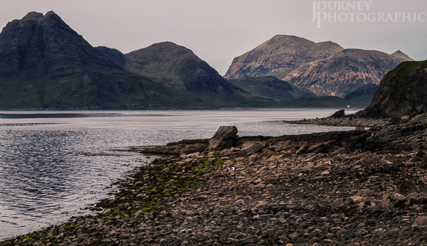 Picture of rocky beach at Elgol, looking out to the Cuillins, Isle of Skye, Scotland