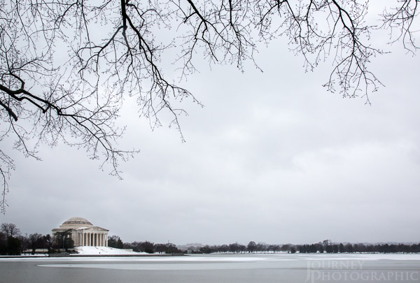 Landscape picture of Jefferson memorial in the snow, Washington DC