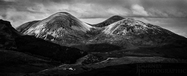 Black and white landscape picture of the red Cuillin, Skye, Scotland