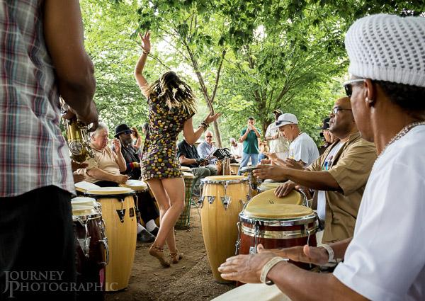 Picture of dancer in drum circle, Malcolm X Park (Meridian Hill Park), Washington D.C.
