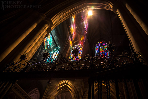 Picture of coloured light rays at the Washington National Cathedral, Washington DC